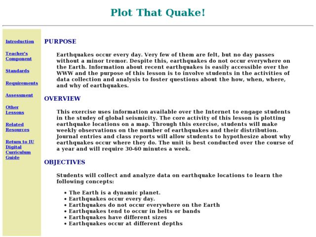 Plot That Quake! Lesson Plan