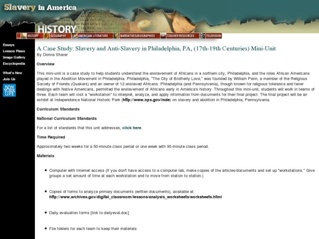 A Case Study: Slavery and Anti-Slavery in Philadelphia, PA, (17th-19th Centuries) Lesson Plan