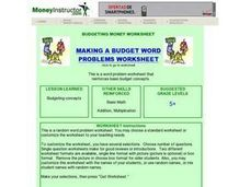 Making a Budget Word Problems Worksheet Lesson Plan