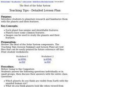 The Best of the Solar System (Grades 4-7) Lesson Plan