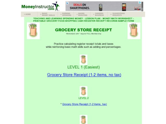 Grocery Store Receipt Lesson Plan