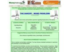 The Bakery - Word  Problems Lesson Plan