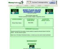 Money Place Values Worksheet Lesson Lesson Plan