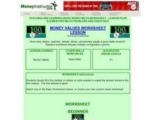 Money Values Worksheet Lesson Lesson Plan