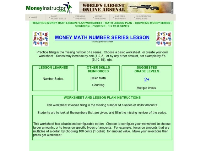 Money Math Number Series Lesson Lesson Plan