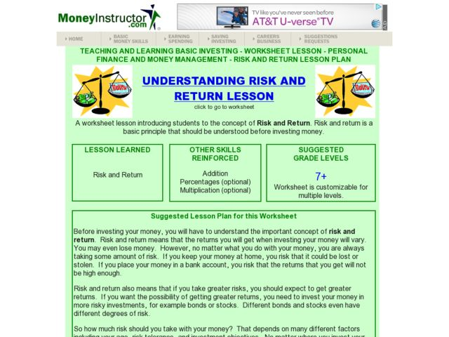 Understanding Risk And Return Lesson Plan