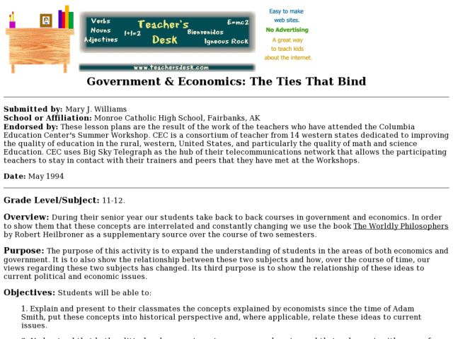 Government & Economics: The Ties That Bind Lesson Plan