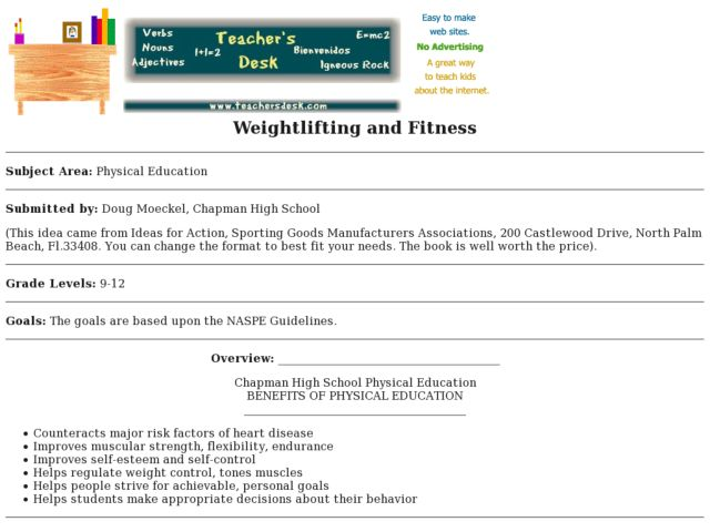Weightlifting and Fitness Lesson Plan