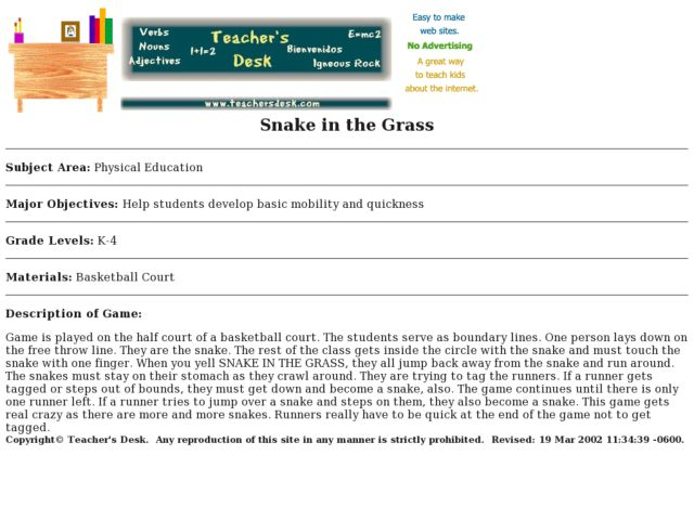 Snake in the Grass Lesson Plan