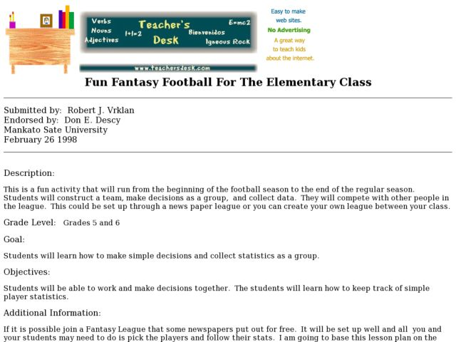 Fun Fantasy Football For The Elementary Class Lesson Plan