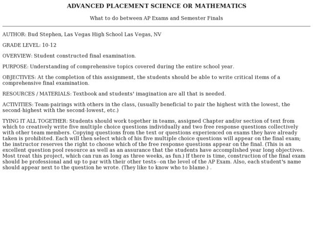 Advanced Placement Science Or Mathematics Lesson Plan