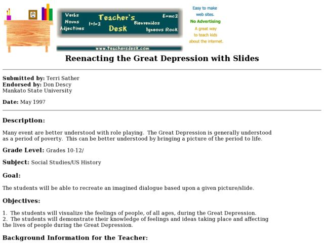 Reenacting the Great Depression With Slides Lesson Plan