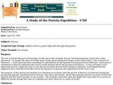 A Study of the Portola Expedition - 1769 Lesson Plan