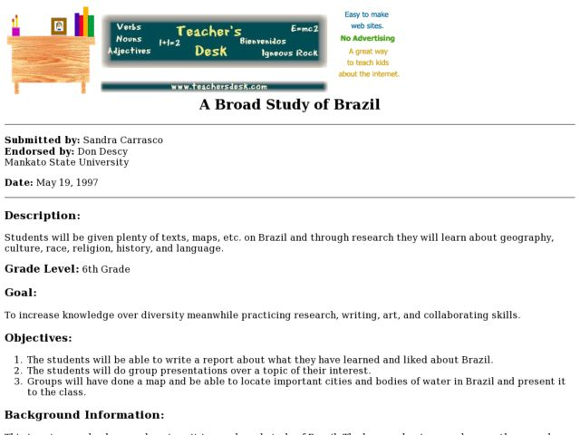 A Broad Study of Brazil Lesson Plan
