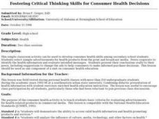 Fostering Critical Thinking Skills for Consumer Health Decisions Lesson Plan