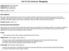 Let Us Go Grocery Shopping Lesson Plan