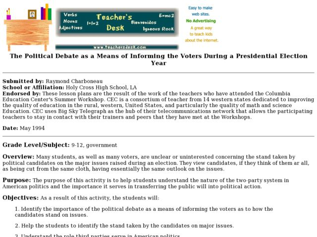 The Political Debate as a Means of Informing the Voters During a Presidential Election Year Lesson Plan