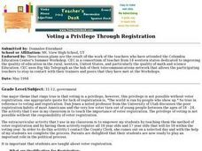 Voting a Privilege Through Registration Lesson Plan