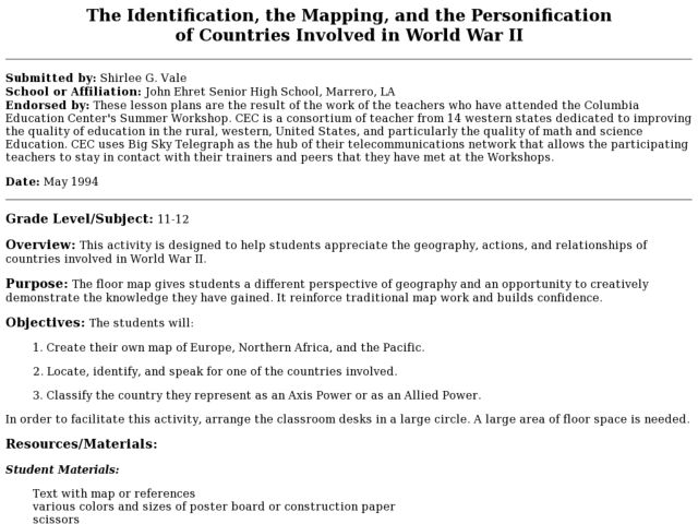 The Identification, the Mapping, and the Personification of Countries Involved in World War II Lesson Plan