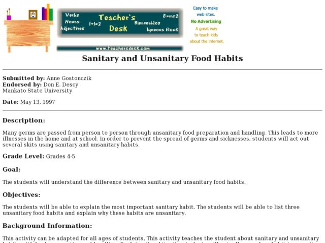 Sanitary and Unsanitary Food Habits Lesson Plan