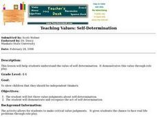 Teaching Values: Self-Determination Lesson Plan