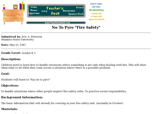 No to Pyro: Fire Safety Lesson Plan