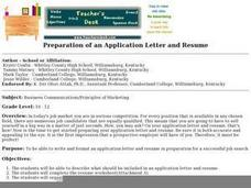 Preparation of an Application Letter and Resume Lesson Plan
