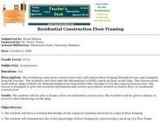 Residential Construction Floor Framing Lesson Plan