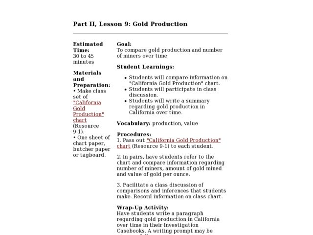 Gold Production Lesson Plan