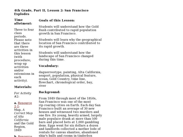 San Francisco Explodes Lesson Plan