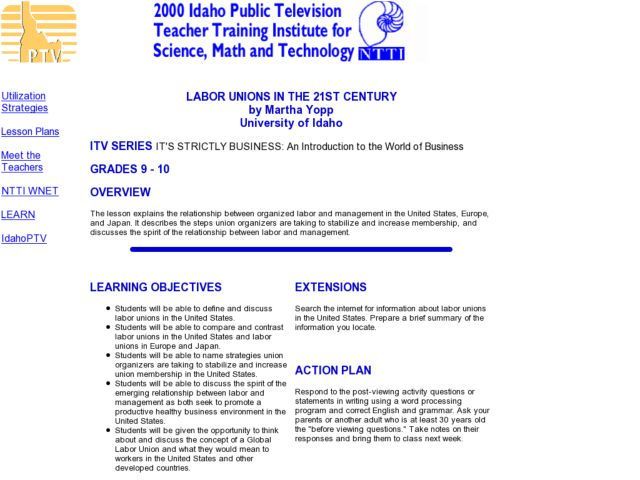 LABOR UNIONS IN THE 21ST CENTURY Lesson Plan