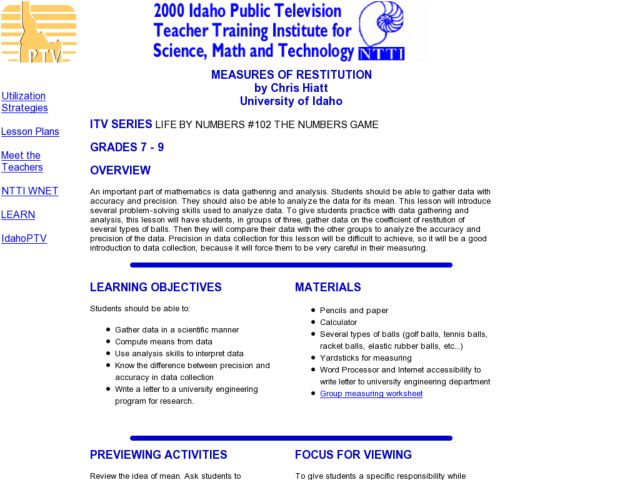 Measures of Restitution Lesson Plan