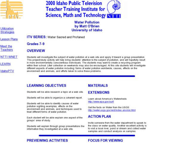 Water Pollution - Group Presentation Lesson Plan