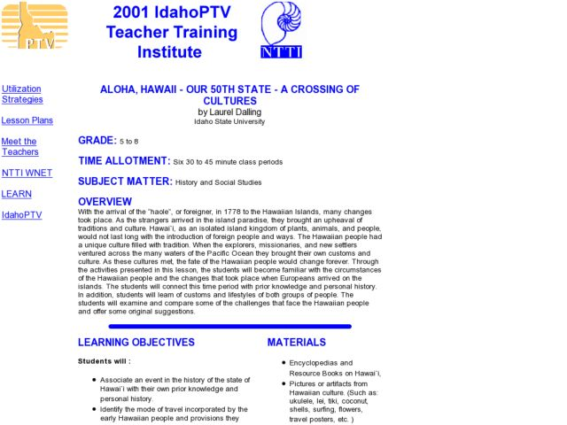 Aloha, Hawaii - Our 50th State - a Crossing of Cultures Lesson Plan