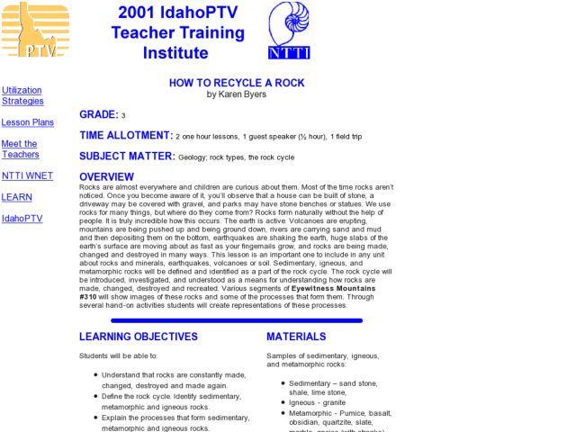 How to Recycle a Rock Lesson Plan