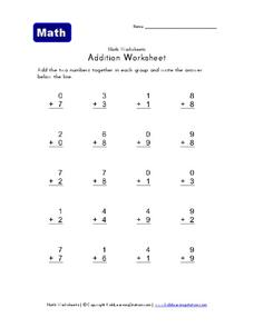 Addition Worksheet Worksheet