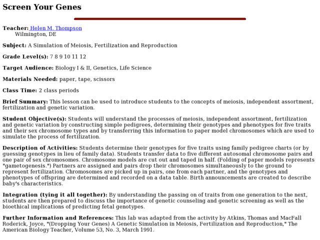 Screen Your Genes Lesson Plan
