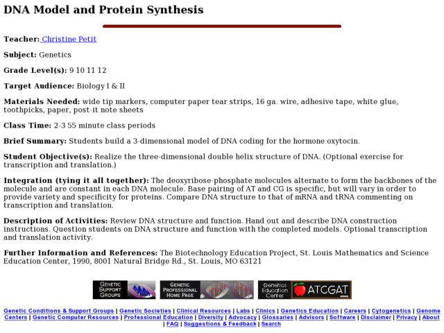 DNA Model and Protein Synthesis Lesson Plan