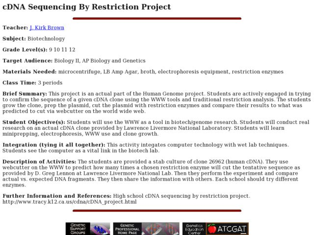 cDNA Sequencing By Restriction Project Lesson Plan