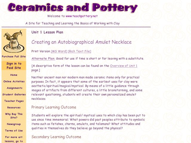 Creating an Autobiographical Amulet Necklace Lesson Plan