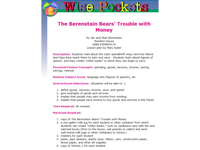 The Bernstein Bear's Trouble with Money: Financial and Academic Literacy Lesson Plan