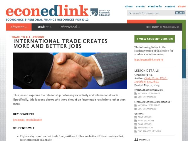 International Trade Creates More and Better Jobs Lesson Plan