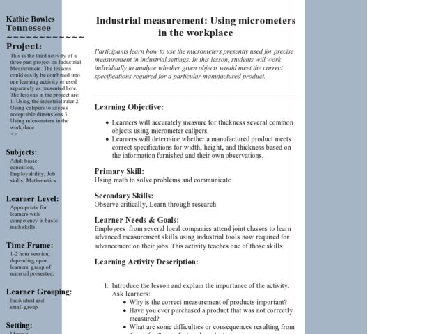 Industrial Measurement: Using Micrometers in the Workplace Lesson Plan