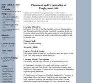 Placement and Organization of Employment Ads Lesson Plan