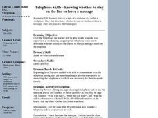 Telephone Skills - knowing whether to stay on the line or leave a message Lesson Plan