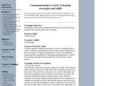 Communicating at work:  Listening strategies and skills Lesson Plan