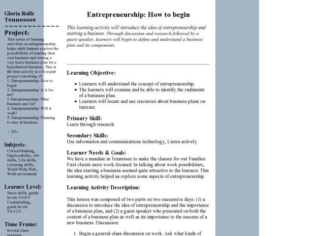 Entrepreneurship: How to Begin Lesson Plan