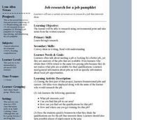 Job research for a job pamphlet Lesson Plan