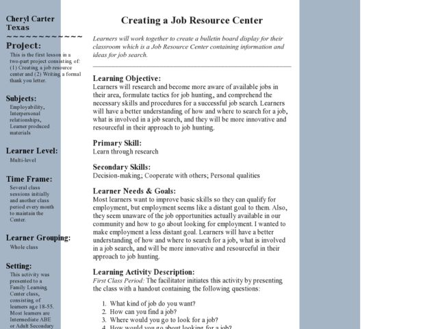 Creating a Job Resource Center Lesson Plan