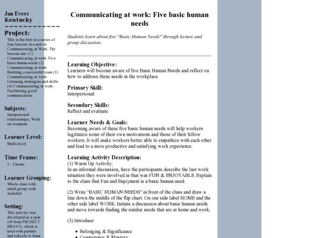 Communicating At Work Five Basic Human Needs Lesson Plan